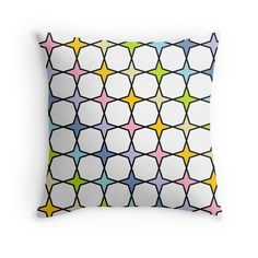 Black Outlined Pastel Rainbow 4 Point Stars