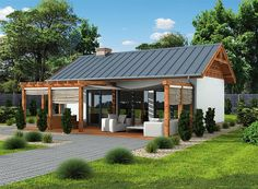 Projekt domu Laba wersja A - Small Modern House Plans, Small House Design, Bungalow Haus Design, Dream Beach Houses, Weekend House, Backyard Pergola, Simple House, Style At Home, Future House
