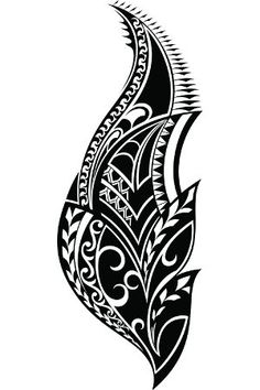 black-white-tribal-leaf-tattoo.jpg (300×450)