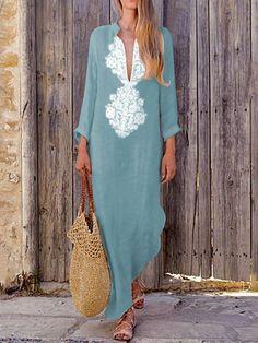 Deep V-neck Long Sleeves Split-side Maxi Dress 0ccbb68bbb55
