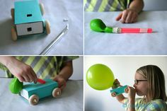 tutorial: make your own air-powered balloon racer cars...for a party, I'd have them made ahead of time and then set up a race track on our sidewalk :)