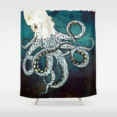 Underwater Dream Vii Bathroom Shower Curtain by Spacefrogdesigns - by Octopus Painting, Octopus Art, Moon Painting, Octopus Anatomy, Giant Pacific Octopus, Mosaic Birds, Animal Sketches, Mosaic Designs, Painted Rocks