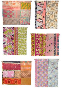 Kantha Quilts (I like the haphazard look of the different pieces sewn together)