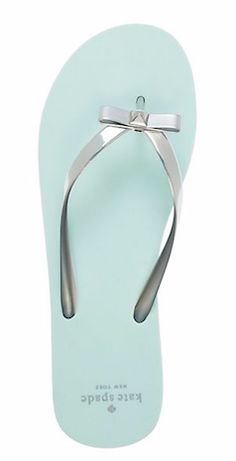Silver and blue Kate Spade thong sandal