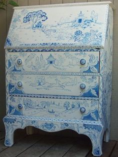 Blue and White Armoire