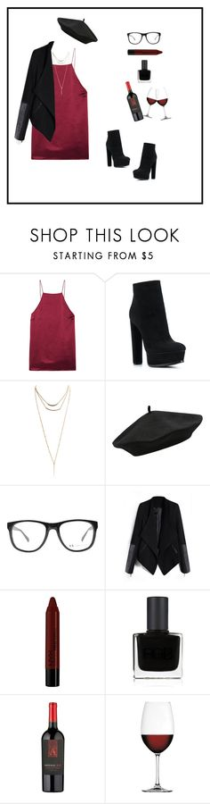 """red wine"" by elsyym ❤ liked on Polyvore featuring Cami NYC, Casadei, Wet Seal, M&Co, Armani Exchange, NYX, RGB Cosmetics and Nachtmann"
