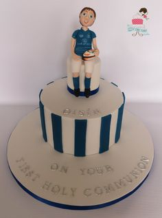 Leinster rugby Communion Cake  www.littlecakefairydublin.com www.facebook.com/littlecakefairydublin Leinster Rugby, Rugby Cake, Holy Communion Cakes, Confirmation Cakes, Holi, Birthday Cake, Facebook, Desserts, Tailgate Desserts