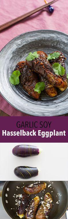 Hasselback Eggplant with Garlic Soy Glaze