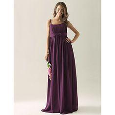 Empire Sheath/Column Spaghetti Straps Floor-length Chiffon Bridesmaid/ Wedding Party Dress. Look at color in lilac, grape or regency. – USD $ 99.99