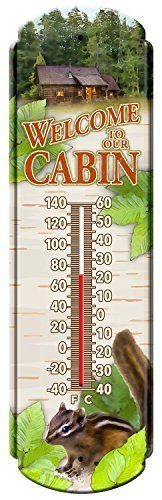 Welcome To The Cabin Vintage Style Tin Thermometers