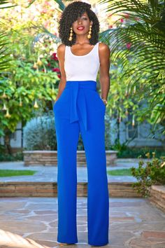 Style Pantry | Bodysuit Tank + High Waist Belted Wide Leg Pants