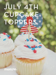 Looking to make a sweet treat more patriotic for 4th of July? Download our free printables to get your family in the spirit with these fun cupcake toppers.