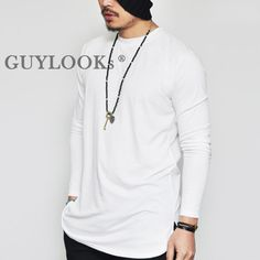 Avant-garde Design Unbalance Cut Mens Long Sleeve Round Crew T-shirt Tee Guylook