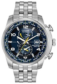 Citizen Watch World Time A.T Men's Quartz Watch with Blue Dial Analogue Display and Silver Stainless Steel Bracelet AT9010-52L--296.1