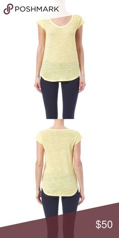 "FINAL SALE! NWOT Joie Neyo Linen Slub Tee Relaxed fit tee in a soft linen slub knit. Scoop Neck and Cap sleeves. Pullover style. About 25"" from shoulder to hem. Color: Lemon Drop. Brand new. Never worn. Joie Tops"