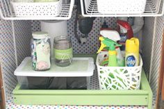 I never thought of attaching those under cabinet racks to the ceiling of cabinet under sink! Might be helpful.