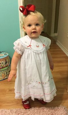 NEW Will'Beth White Ruffled Dress with Red Embroidered Flowers, Lace, Seed Pearls, and Red Ribbon Insertion with Short Sleeves or Long Sleeves from www.grammies-attic.com #HeirloomChristmasDress