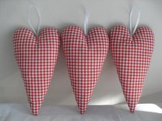 gingham fabric hearts