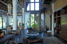 Traditional luxury Indonesian style in villa in Bali
