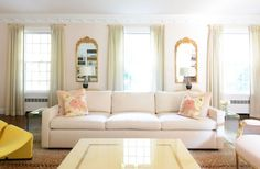 """For New York-based designer Sasha Bikoff, pale pink is easy on the eye but still packs a punch. """"I consider certain pinks neutral because of their nude, almost skin-like quality,"""" says the designer.  Blush has a cream and yellow base that makes it a neutral, as opposed to pinks with purple undertones, according to Bikoff. """"The light blush in this living room works great as a backdrop to other neutrals and pops of color, like canary yellow, which complements the blush in a beautiful…"""