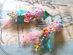 Kaleidoscope Earrings, pink, Blue, Rainbow, Vintage Lace, Boho, Beaded, Bohemian,