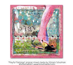 ORIGINAL flamingo painting  pink flamingo art  by SchulmanArts