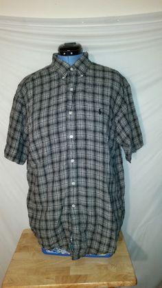 Caribbean Mens Linen//Cotton Long Sleeve Orange Plaids /& Checks Size L XL NWT