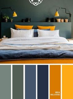 10 Best Color Schemes for Your Bedroom { Green + Dark Blue + Mustard Yellow } co. 10 Best Color Schemes for Your Bedroom { Green + Dark Blue + Mustard Yellow } color palette Bedroom Colour Palette, Blue Colour Palette, Bedroom Color Schemes, Mauve Color, Apartment Color Schemes, Yellow Color Palettes, Guest Bedroom Colors, Color Blue, Interior Design Color Schemes