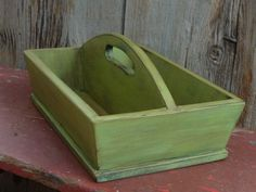 Primitive Wooden Cutlery Tray In Poison Green. $26.00, via Etsy.