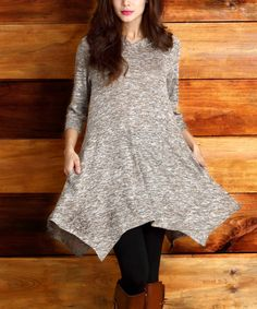 Look what I found on #zulily! Oatmeal Melange Hooded Handkerchief Tunic by Reborn Collection #zulilyfinds