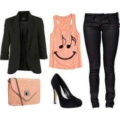 Peach and black