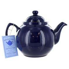 Cobalt Betty Teapot - 8 Cup and other lovely English tea items. British people believe the Brown Betty makes the best pot of tea, despite it's humble appearance. The same teapot is now available in cobalt blue.
