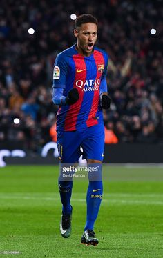 Neymar Jr. of FC Barcelona celebrates after scoring his team's second goal from the penalty spot during the Copa del Rey round of 16 second leg match between FC Barcelona and Athletic Club at Camp Nou on January 11, 2017 in Barcelona, Spain.