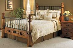 Carved Pine Bed...   It would be perfect if it only had a Texas Star or a Rustic Cross instead of pine
