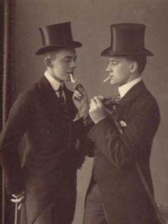 1920's two dapper gentleman Top hats