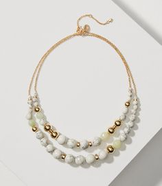 Primary Image of Marbleized Double Strand Beaded Necklace