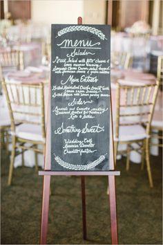 chalkboard wedding menu sign #chalkboardsign #weddingreception #weddingchicks http://www.weddingchicks.com/2014/02/07/pink-and-black-wedding/