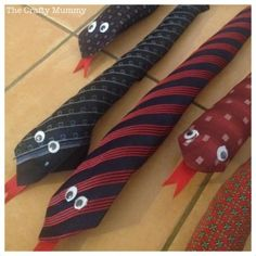 "The perfect ""boy"" craft—necktie snakes. (from the Crafty Mummy)  *wonder if these could be used too as in front of doors when closed, to keep cold air out???"