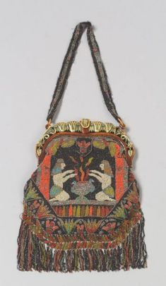 """French Art Deco Egyptian Revival Beaded Purse, coral silk lining and carved Bakelite frame, marked """"Made in France"""""""