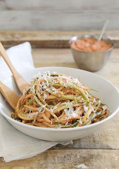 Zucchini noodles with creamy roasted tomato basil sauce by Runningtothekitchen, via Flickr