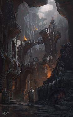 Scenes and Landscapes - Fantasy Art Dark Fantasy Art, Fantasy Artwork, Fantasy Concept Art, Fantasy City, Fantasy Castle, Fantasy Kunst, Fantasy Places, High Fantasy, Medieval Fantasy