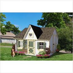 COZY COTTAGE -- Country living on your mind? The Victorian Cozy Cottage Kennel Dog House by the Little Cottage Company captures a little bit of the rustic charm of a country house. Cool Dog Houses, Play Houses, Luxury Dog House, Luxury Houses, Canis, Niches, Wood Dog, Victorian Cottage, Outdoor Dog