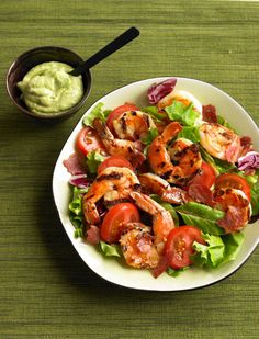 Grilled Prawn Salad with Avocado Aioli