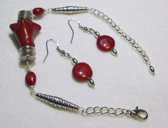 Chunky Red Coral Bracelet. Woman's Handmade Bracelet. Coral Bracelet & matching earrings.