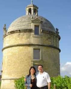 With my wife Yang in front of the iconic tower of Chateau Latour, on our honeymoon.