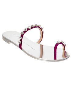 GIUSEPPE ZANOTTI GIUSEPPE ZANOTTI EMBELLISHED SUEDE TOE RING SANDAL'. #giuseppezanotti #shoes #sandals