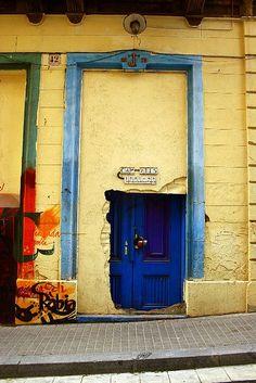 Doors, blue, entry, portal, Barcelona, Spain