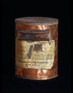 """Library of Dust 2005 — 2006  """"… these canisters hold the cremated remains of patients from an American psychiatric hospital. Oddly reminiscent of bullet casings, the canisters are literal gravesites. Reacting with their ash inhabitants, the canisters are now blooming with secondary minerals, articulating new metallic landscapes.""""  — Geoff Manaugh, Contemporary  via David Maisel :: Photography :: Library Of Dust"""