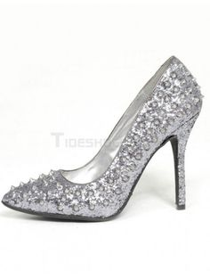 Silver PU Leather Glitter Pointed Toe Stiletto Heel Spikes Sexy Women's High Heels