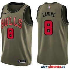 Men s Nike Chicago Bulls  8 Zach LaVine Green Salute to Service NBA  Swingman Jersey Markieff 2c1e67af8